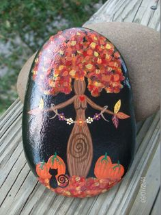This Autumn Foliage Gaia/Mother Earth Goddess Altar Stone is great for your Fall Altar, home Decor, Garden, but small enough to fit in your