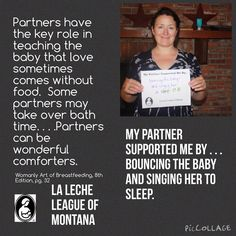 """""""Partners have the key role in teaching the baby that love sometimes comes without food. Some partners may take over bath time... Partners can be wonderful comforters.""""- The Womanly Art of #Breastfeeding. Photo via La Leche League of Montana http://www.llli.org/web/montana.html"""