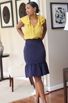 Girly blouse and (DIY project) fitted skirt