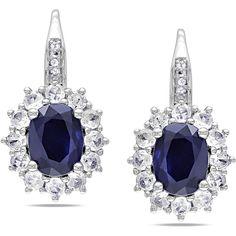 Miadora Sterling Silver Created / Sapphire and Diamond Earrings ($125) via Polyvore