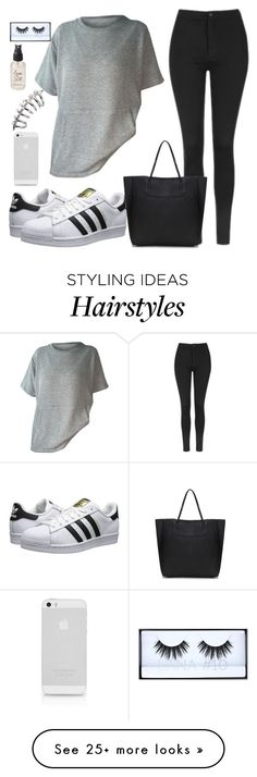 """Untitled #1716"" by anarita11 on Polyvore featuring Topshop, adidas Originals, Olivine and Huda Beauty"