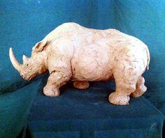 Clay sculpture rhinoceros