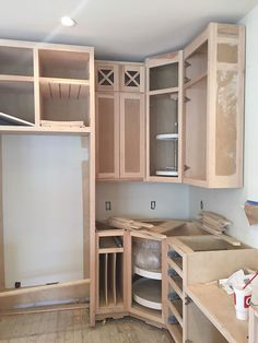 The Blissful Bee Building Kitchen Cabinets, Kitchen Cabinet Styles, Diy Kitchen Cabinets, Wooden Kitchen, Kitchen Furniture, Kitchen Lighting Design, Kitchen Design, Wooden Pallet Furniture, Kitchen Sets
