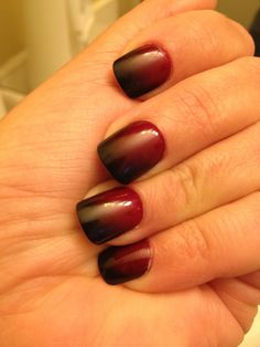 Christmas Ombre Nails CND Blood Line & China Glase Liquid Leather