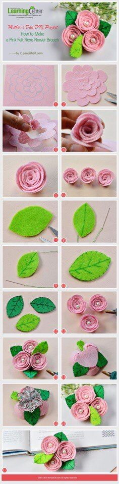 Mother's Day DIY Project How to Make a Pink Felt Rose Flower Brooch from LC Pandahall com is part of Felt flowers diy - Felt Roses, Felt Flowers, Diy Flowers, Fabric Flowers, Felt Flower Diy, Orchid Flowers, Felt Diy, Felt Crafts, Diy Crafts