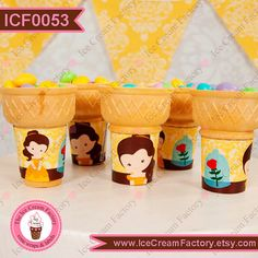 PRINCESS Belle bella beauty princess ideas by IceCreamFactory, birthday party ideas happy supplies invitations banner unique candy buffet cupcake wraps for ice cream cone flat bottom perfect with any recipe and as cake toppers PRINTED and handmade in the USA by www.InstaParties.com ideas printables decorations for disney weddings baby shower and just because.