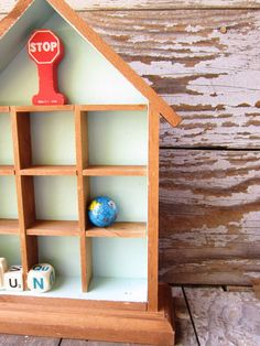 Vintage Wooden House Display Shelf Shadow by WhatsNewOnTheMantel