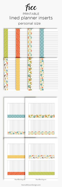Free Printable Lined Planner Stickers From Inserts from Hanna Nilsson Design {newsletter subscription required}