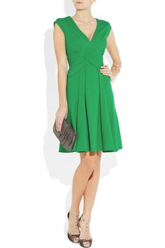Green Issa dress with amazing Valentino lace shoes