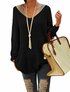 ff8a64a1c532 Allegra K Ladies Scoop Neck Stretchy Long Sleeve Knitted Winter Sweater  Black Large