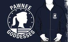 Zipper Hoodie in Navy pleaaase! Pawnee Goddesses - White by tessacampbell