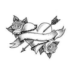 heart and rose tattoos | Home / Pierced Heart with Roses Banner Tattoo