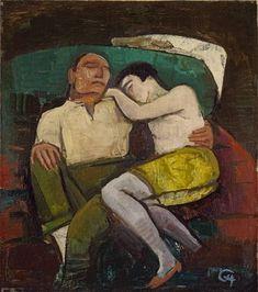 'Ruhendes Liebespaar' (Resting Couple) (1926) by German painter Karl Hofer (1878-1955). via *huismus on flickr