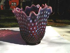 "Rare Vintage Fenton Plum Opalescent Hobnail Handkerchief Vase 8"" Estate Find"
