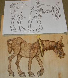 wood burning of old nag horse,, pattern and finished project ~  horse pyrography