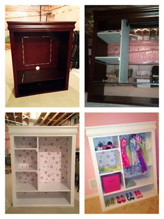"""Genius up-cycle of an old entertainment center into a child's wardrobe. Looks like the intention of this design was for a """"dress-up"""" closet, but it could easily be used as a proper wardrobe in a small space with no closet."""