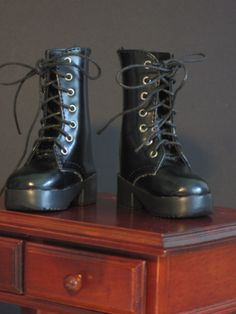"""1/4 BJD Black Boots Lace Up  Back Zip ,Fit MSD,DOD,LUTS Kaye Wiggs Hope,18"""""""