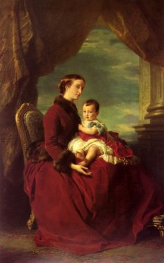 The Empress Eugenie Holding Louis Napoleon, the Prince Imperial on her Knees by Franz Xaver Winterhalter, 1857 France
