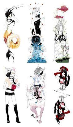 (Starting from top left) Capricorn, Aquarius, Pieces, Aries, Taurus, and Gemini