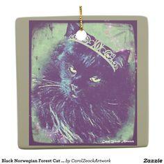 Black Norwegian Forest Cat Ornament