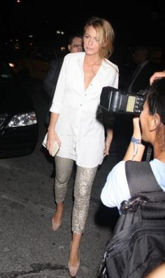 Blake Lively wearing Christian Louboutin Very Prive Pumps in Nude, Ralph Lauren Tuxedo Shirt and Costume Dept For Revolve Exclusive Sequins Leggings in Silver.