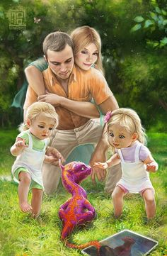 Daddy brings home a pet baby dragon for his sweet wife and two little girls.   Illustration by George Redreev.