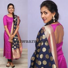 Madhu Shalini Pink Salwar - Indian Dresses Silk Kurti Designs, Salwar Designs, Kurta Designs Women, Kurti Designs Party Wear, Long Dress Design, Dress Neck Designs, Blouse Designs, Patiyala Dress, Indian Designer Suits