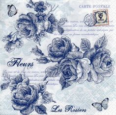 4 x Single Luxury Paper Napkins for Decoupage and Craft Vintage Blue Roses Decoupage Vintage, Vintage Paper, Napkin Decoupage, Paper Napkins For Decoupage, Vintage Rosen, Decoupage Printables, Scrapbook Paper Crafts, Paper Background, Vintage Prints