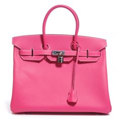 This is an authentic HERMES Epsom Birkin 35 in Rose Tyrien  NEW.   This stylish tote is beautifully crafted of epsom calfskin leather and features rolled leather top handles a frontal flap and strap closure and palladium silver hardware including a turn lock and key.