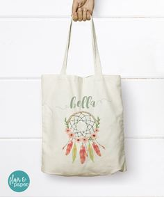 Dreamcatcher Tote Bag, Personalized Boho Tote Bag - Bridesmaid Tote Bag - Bridesmaids Gift - Bridal Party gifts - Sister Gift by FlairandPaper on Etsy. Find it here: http://etsy.me/2eXHEN7