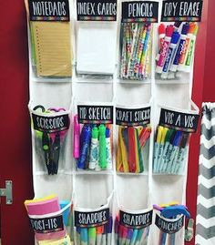 Back to School DIY Ideas - Genius Crafts for Better Organization - Amazing Projects on Home DIY - Organizing Ideas - Organize all supplies mess with repurposed shoe organizer. Back to School DIY Ideas – Genius Craf - Back To School Organization, Classroom Organisation, Teacher Organization, Teacher Hacks, Classroom Management, Organization Hacks, Classroom Storage Ideas, Organizing Ideas, Teen Closet Organization