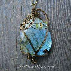 Iridescent Labradorite Pendant Necklace by CareMoreCreations.com, $89.00