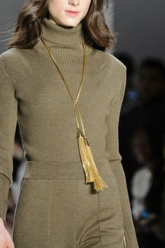 Browse the best fashion accessories seen on the runway at NYFW Fall 2017 via @STYLECASTER | Erin Fetherston's gold tassel chain necklace
