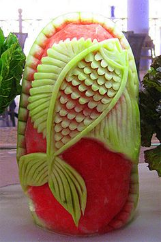 ❀⊱╮Watermelon Carving / Food Art / Fruit Art / a fish