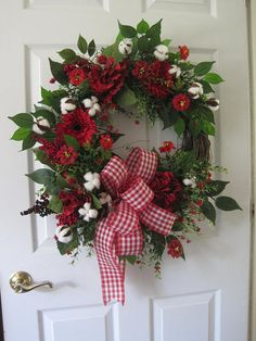 Red Floral Wreath Cotton Boll Wreath Four Season Wreath