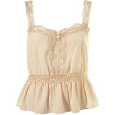 Lace Vintage Button Camisole (1 290 UAH) ❤ liked on Polyvore featuring tops, shirts, tank tops, tanks, women, beige shirt, beige top, camisole shirt, shirt tops and polyester camisole