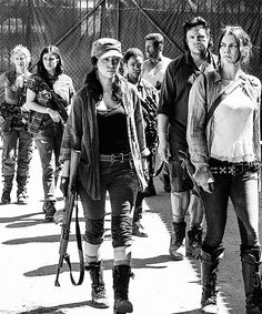 Rick's survivors are asked to turn over their weapons. They do not want to but are informed it is the price of admission. Aaron suggests they hold on to their weapons until after they talk to Alexandria's leader, Deanna.