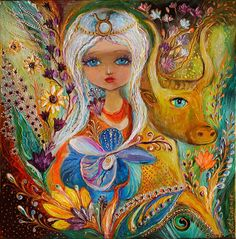 The Fairies Of Zodiac Series - Taurus Painting