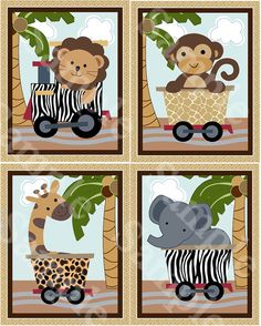 Hey, I found this really awesome Etsy listing at https://www.etsy.com/listing/233956881/set-of-4-unframed-safari-expressjungle