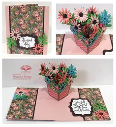 Hi Crafty Friends, Today I am sharing a pop up card using Karen Burniston's new Flower Pot Pop-Up die set. Flowers Dp, Flower Boxes, Birthday Sentiments, Pop Up Box Cards, Elizabeth Craft Designs, Interactive Cards, Folded Cards, I Card, Birthday Invitations