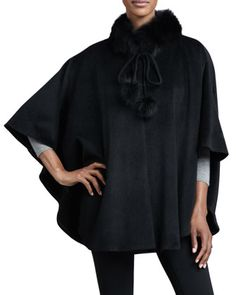 Belle Fare Fox-Trim Cashmere Cape, Black - Neiman Marcus