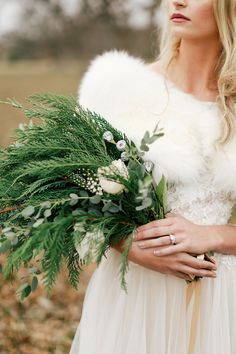 greenery bouquet - photo by Feather and Twine Photography http://ruffledblog.com/organic-winter-wedding-inspiration