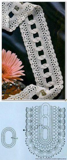 Knitting Patterns Scarves Braid with crochet rings. Cord crocheted from rings hooks Crochet Edging Patterns, Crochet Lace Edging, Basic Crochet Stitches, Crochet Chart, Filet Crochet, Thread Crochet, Irish Crochet, Crochet Scarves, Knitting Stitches