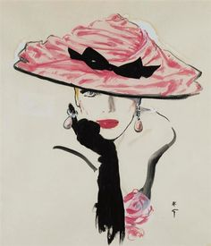 Glam Pink hat black gloves illustration. Bellezza da vendere : René Gruau -Quando la moda è arte