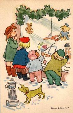 Soloillustratori: Iben Clante illustration store window children xmas toys dog and hydrant