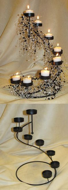 Spiral Black Candle Holder.  Adorn with black & gold beads...and cobwebs.  Black & Gold Glam Gala Halloween Party Decorations & Decorating Ideas.