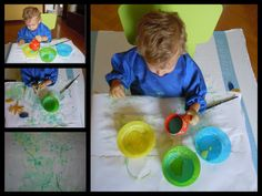 Yogurt & food colouring for painting with the youngest
