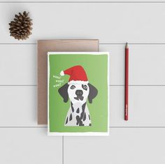Funny Christmas Card - Dog in a Santa Hat A2 Card - Humorous Holiday Card - Digitally Printed Cards w/ envelope - pw040card