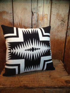 Native American Blanket Throw Pillow, Pendleton Wool Fabric, Black White