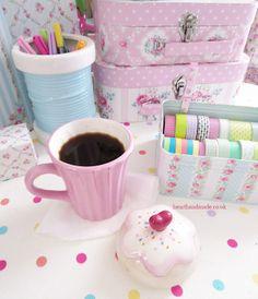 Craft Ideas in the home of hearthandmade uk. My cupcake mug and greengate box full of lovely washi tape! I also love my blue bobbin storage jar ^_^